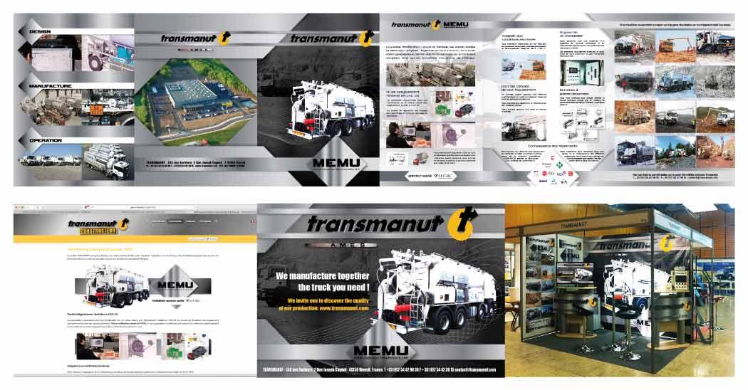 Création réalisation EMS : TRANSMANUT (41) MEMU plaquette prestige, site web, annonce presse, stand d'exposition