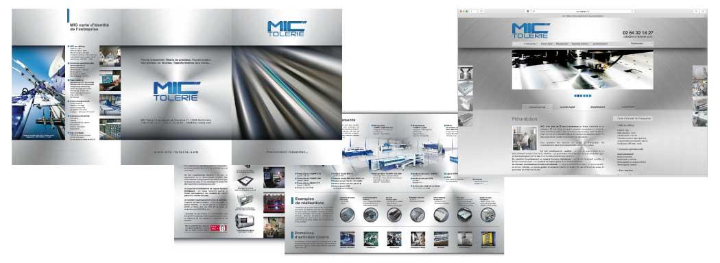 EMS Communication, conseil, graphisme : MIC Tôlerie (41)  création réalisation d'une plaquette prestige d'un site web, plaquette électronique